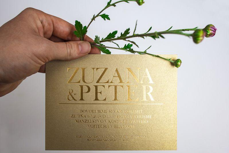 Svadobné oznámenie so zlatým písmom