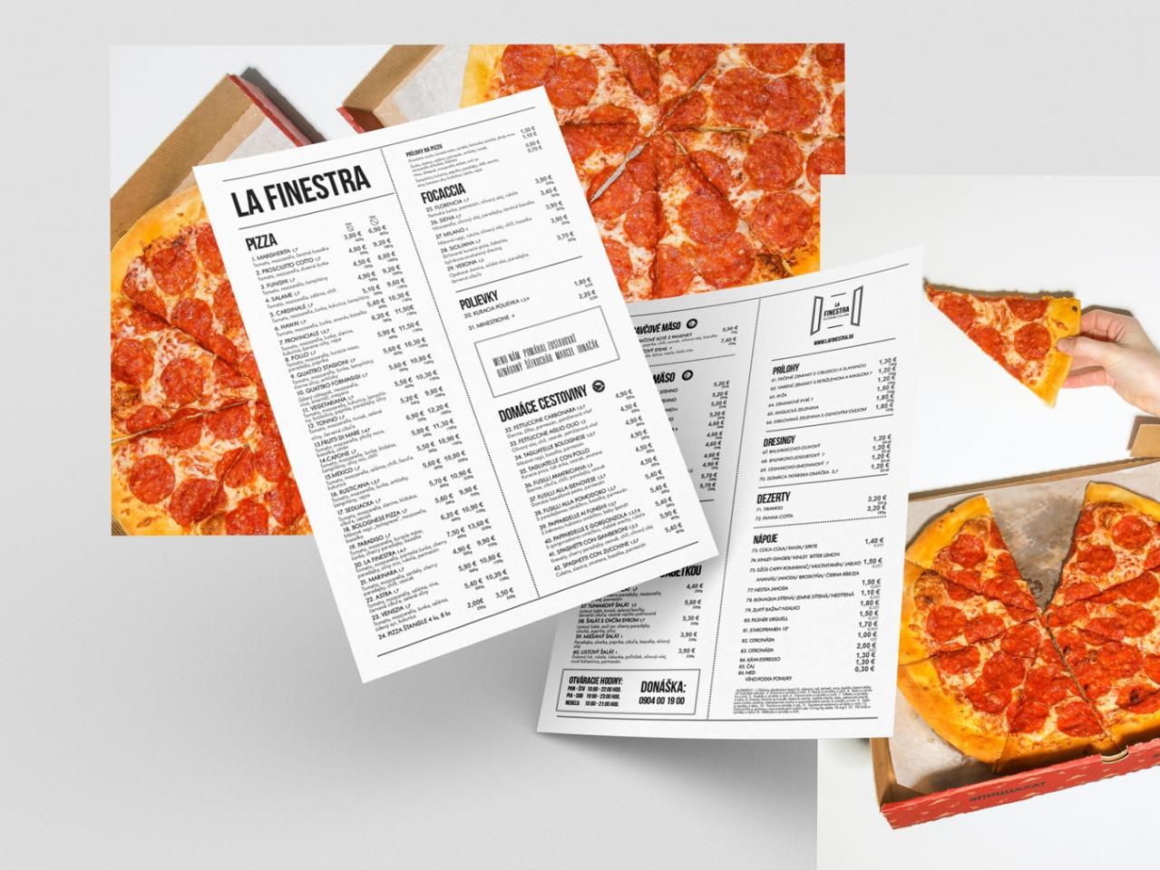 Menu pre pizzériu La Finestra
