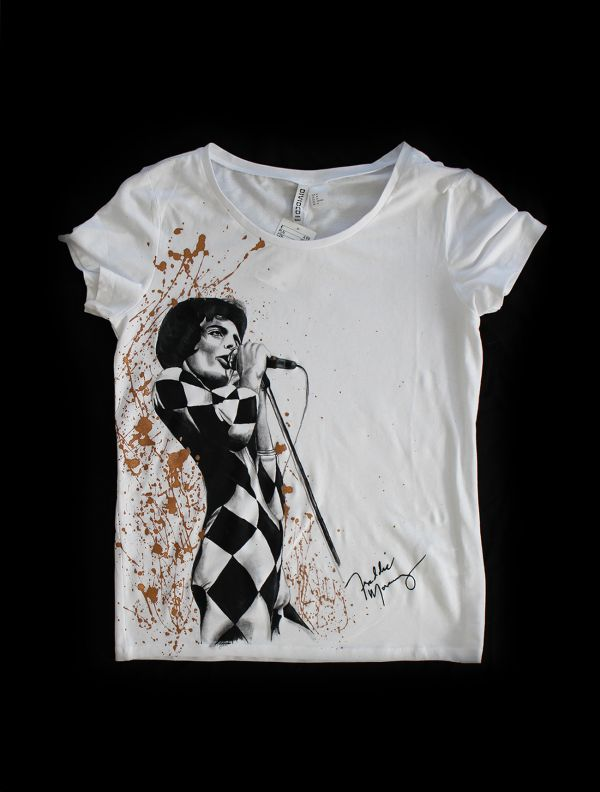 Hand painted T-shirt Freddie Mercury white