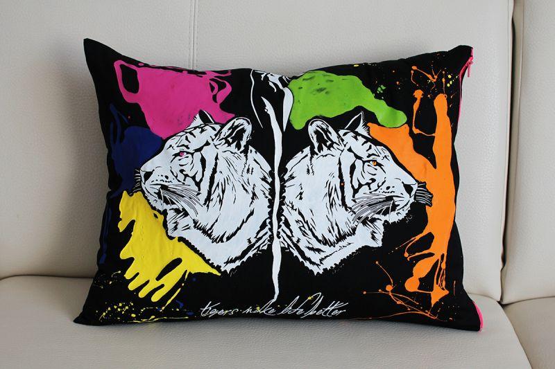 Maľovaný vankúš Tigre