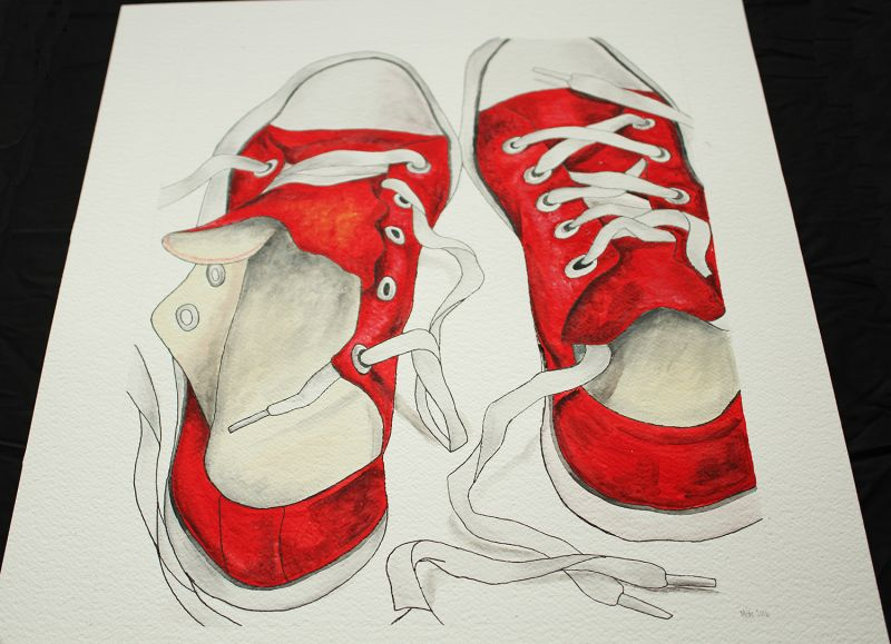 Painted sneakers on paper 60x40