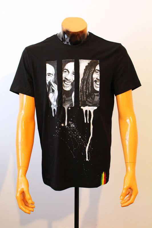 Ručne maľované tričko Bob Marley