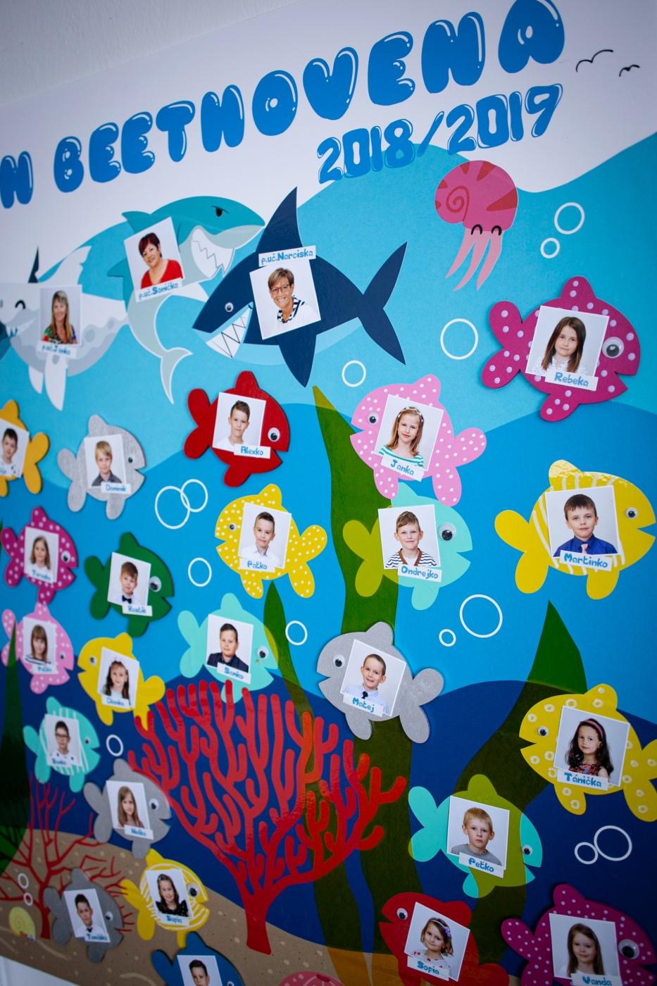 Ručne vyrobené detské tablo rybičky
