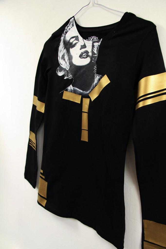 Ručne maľované tričko Marilyn Monroe zlaté