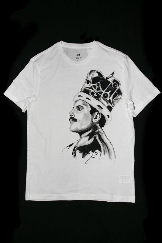 Ručne maľované tričko Freddie Mercury s korunou