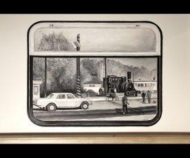Maľované okná vlaku