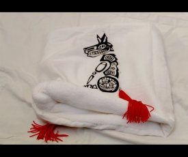 Painted scarf fox with red tail