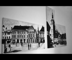 Painting on canvas Trnava from two pieces