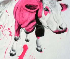 Painted T-shirt just pink cow