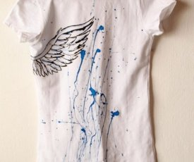 Painted T-shirt blues heart