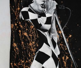 Hand painted T-shirt Freddie Mercury black