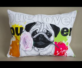 Painted pillow pug lover