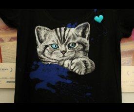 Maľované tričko cica