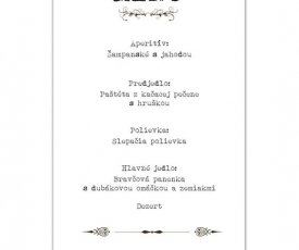 Wedding menu and  invitations to the wedding table