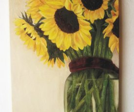 Oil painting sunflowers