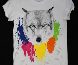 Painted T-shirt wolf