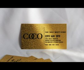Visit-cards on the gold paper coco